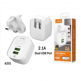 LDNIO A201 Dual USB Outpot Port 2.4a Fast Charging 3 Pin Travel Charger Adapter