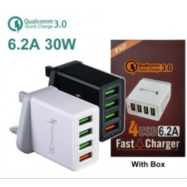 QC 3.0  4 Port USB Wall Charger 4 IN 1 Portable Wall Mobile Charger Adapter