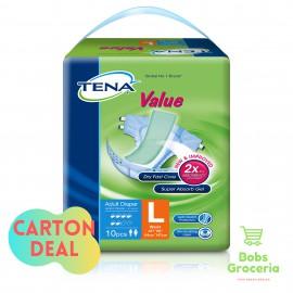 Tena Value Adult Diapers  L10 - 1 Carton (8 bags)
