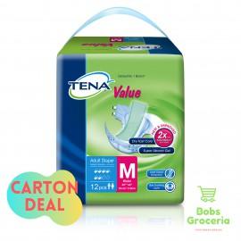 Tena Value Adult Diapers M12  - 1 Carton (8 bags)