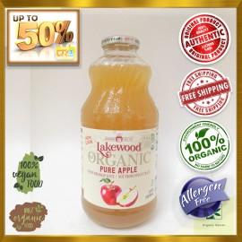 LAKEWOOD Organic Pure Apple Juice 32oz 100 % Organic USDA Certified - GLUTEN FREE [Twin Pack] (946ML)